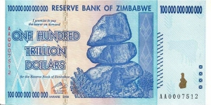 An actually hyperinflated currency, the Zimbabwe dollar was so weak that this is a single note for one hundred TRILLION. The Fed would have to print fifty times as much as it did last fall, in order to match this ONE bill.