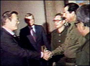 Donald Rumsfeld shaking hands with close American ally Saddam Hussein, in the 1980s