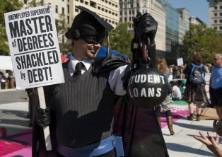 Occupy Wall Street protester, complaining about student loan debt